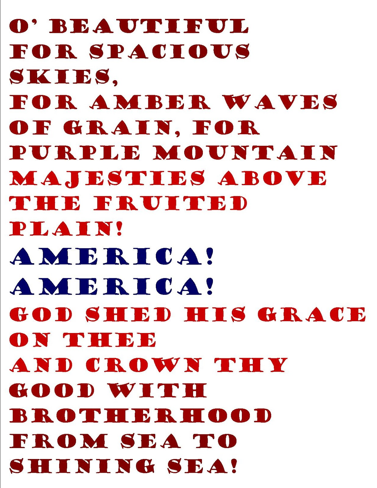 It's just an image of Vibrant America the Beautiful Lyrics Printable