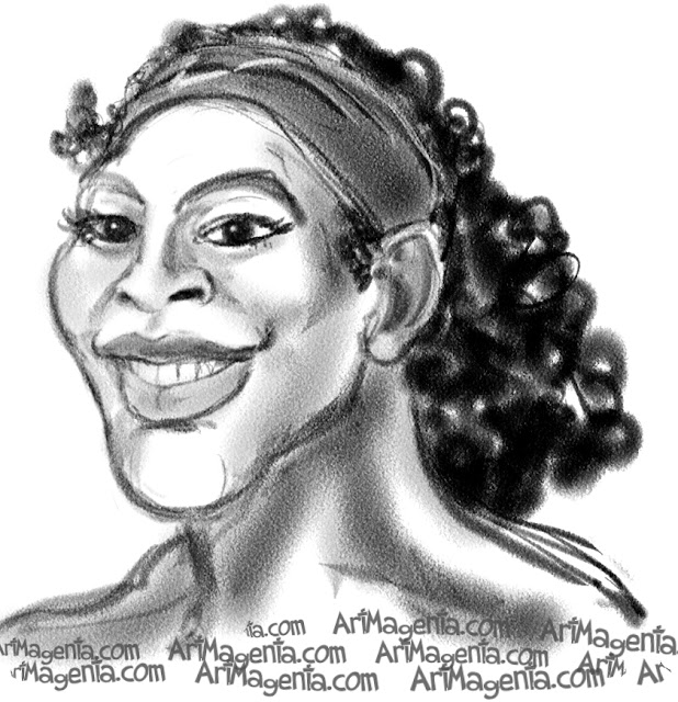 Serena Williams caricature cartoon. Portrait drawing by caricaturist Artmagenta