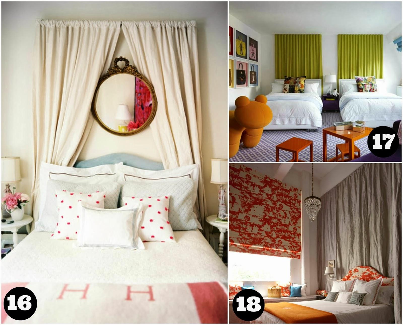 Casa montada 18 ideias para decorar a cabeceira com tecido - Cortinas para cama ...