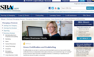 U.S.A. Small Business Administration: Green Business How-to Guide, Eco Labeling, and Certification Programs