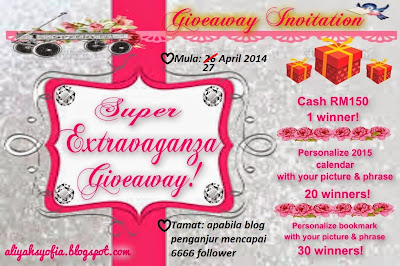 http://aliyahsyofia.blogspot.com/2014/04/super-extravaganza-giveaway.html