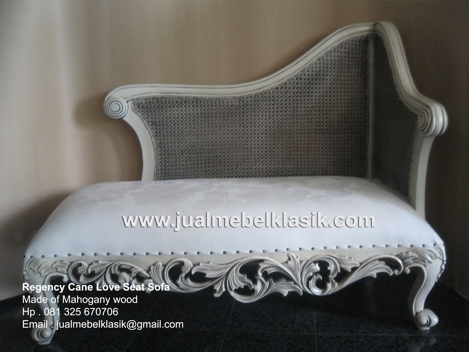 Supplier Classic Furniture Indonesia furniture supplier rattan cane sofa mahogany finishing white painted