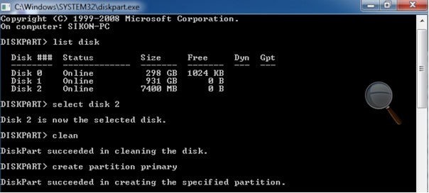 Select the disk and clean it