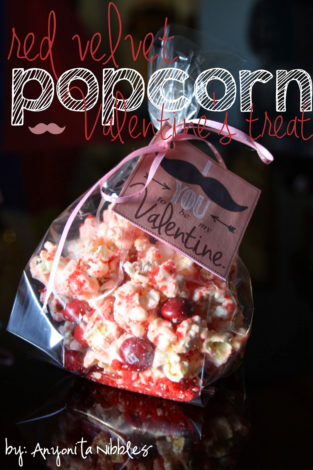 Red Velvet Popcorn Valentine'sTreat with Mustache Printable from www.anyonita-nibbles.co.uk