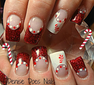 peppermint candy cane christmas nails