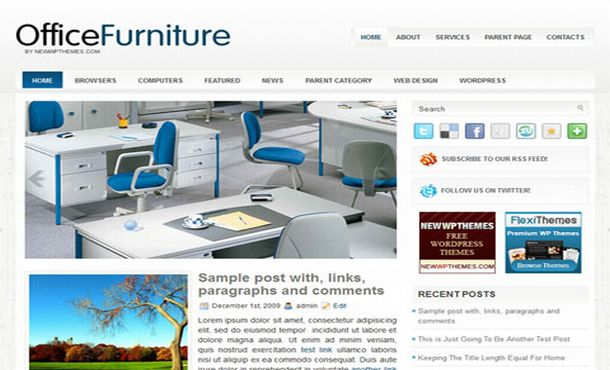 Free Furniture Shopping Blue Wordpress Theme Free Web Templates Dreamwaver