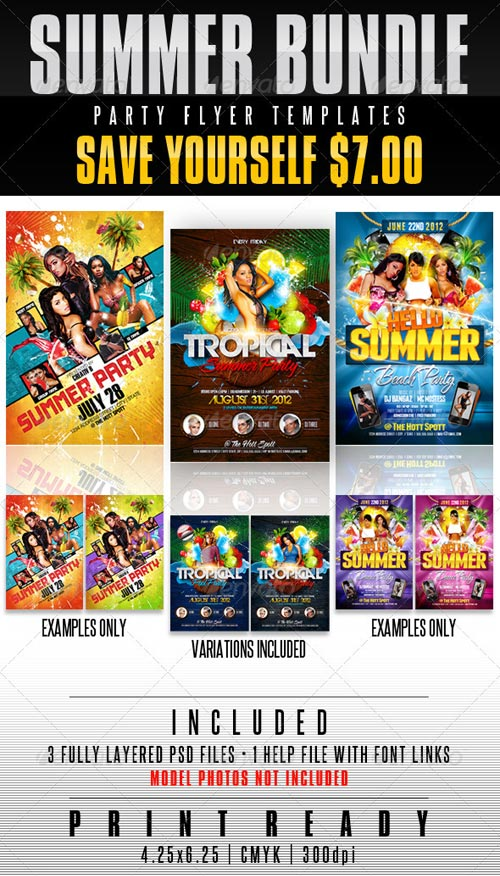 Summer Party Flyer Templates Bundle