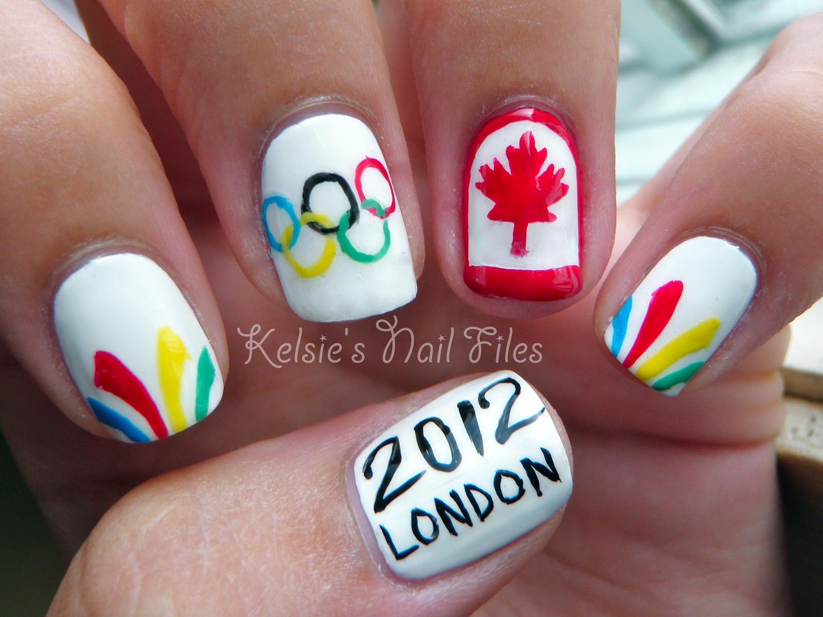 Kelsies nail files olympic nail art team canada my original idea was to include the team canada logo see the bottom of this post but i couldnt fit the olympic rings on my ring finger with the maple sciox Image collections