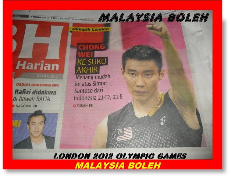 London 2012 Olympic Games,MALAYSIA BOLEH bersama 28 juta rakyat menyokong penuh Datuk Lee Chong Wei