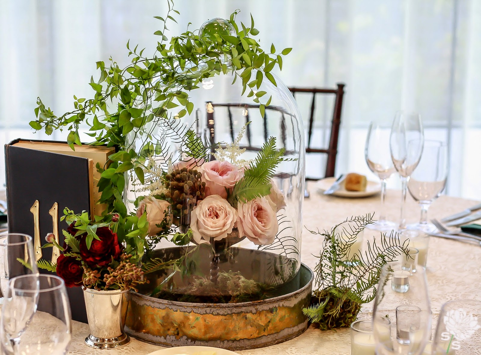 The Roundhouse Wedding - Beacon, NY - Hudson Valley Wedding - Table Centerpiece - Glass Cloch, Mint Julep Cup, Compote Dish Old Books - Wedding Flowers - Splendid Stems