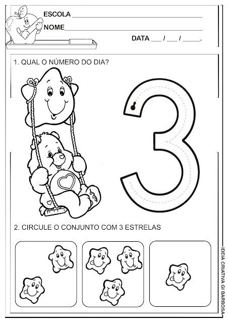 Atividade número 3 Ursinhos Carinhosos