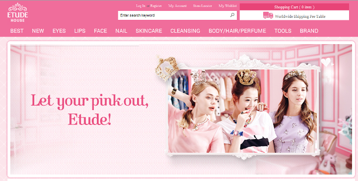 screenshot of the Etude House Global online shop