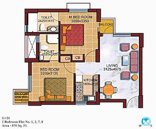 Czar Suites :: Floor Plans:-G+22 2 Bedroom Flat no. 1,2,7,8 Area - 870 sq. ft.