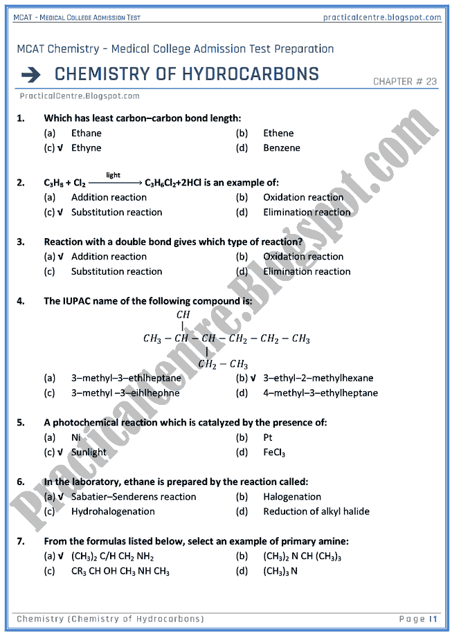mcat-chemistry-chemistry-of-hydrocarbons-mcqs-for-medical-college-admission-test