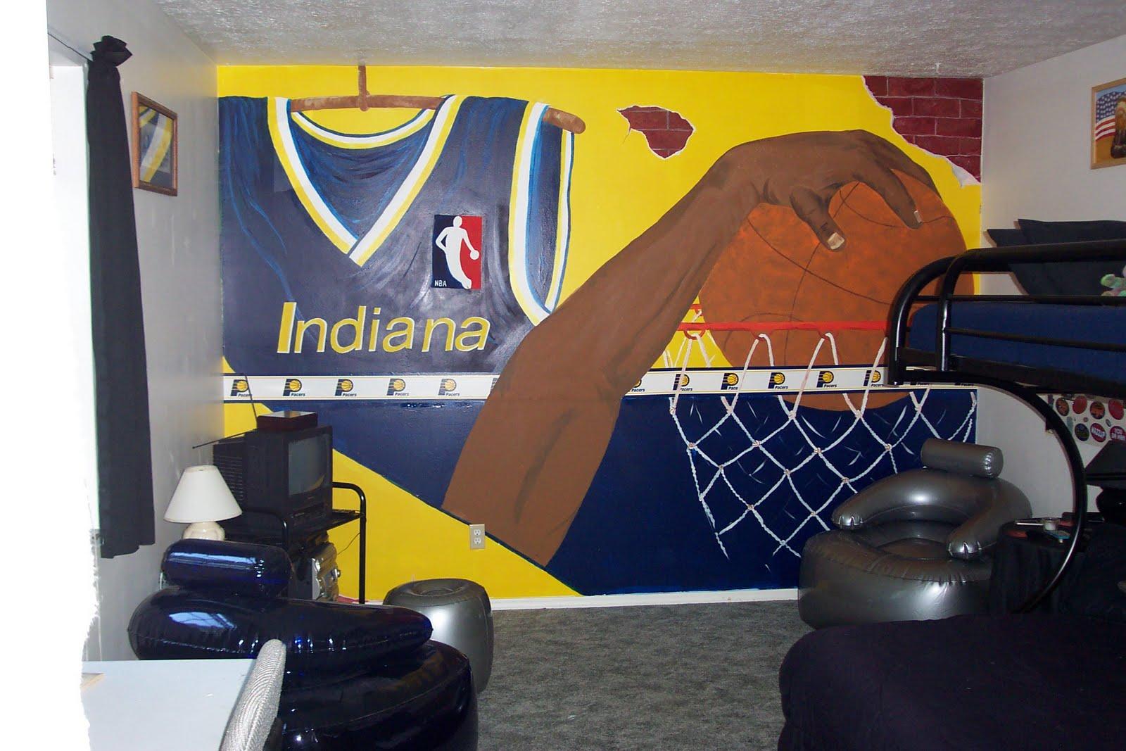 Dddesigns murals boy 39 s basketball bedroom for Basketball mural