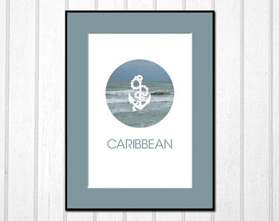 Caribbean poster with ocean view and anchor framed