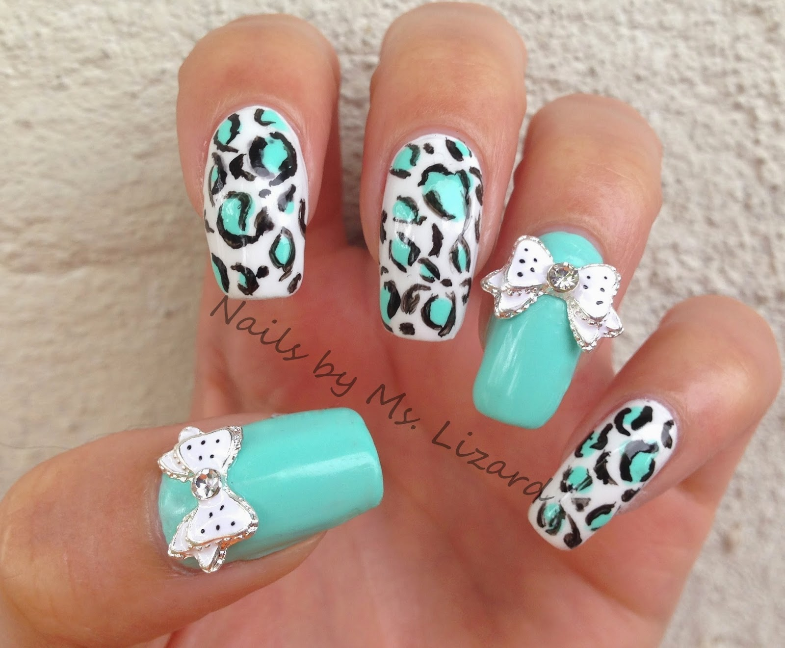 Nails by ms lizard born pretty store rhinestone bow polka dot colors used prinsesfo Image collections
