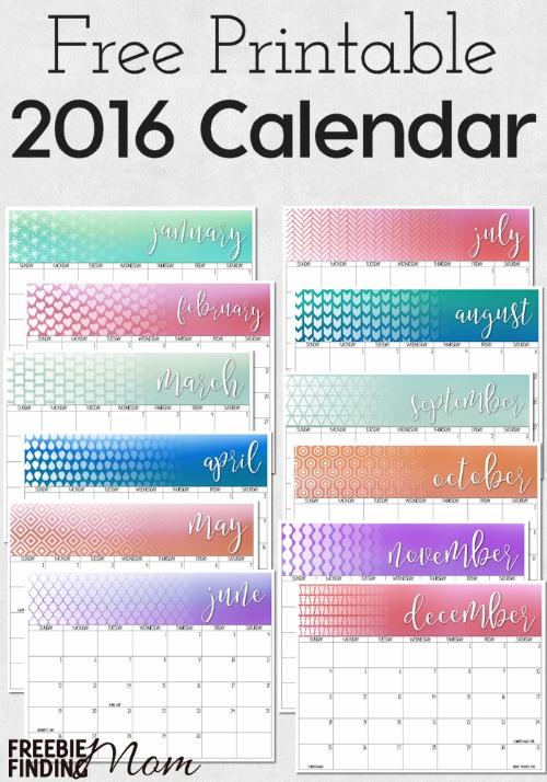 Colorful 2016 calendar by freebie finding mom 2016 calendar