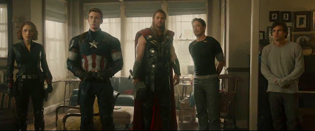 Your Avengers, from left: Black Widow, Captain America, Thor, Iron Man, and the Hulk