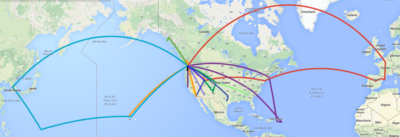 Retracing My Footprints - Us airways travel map
