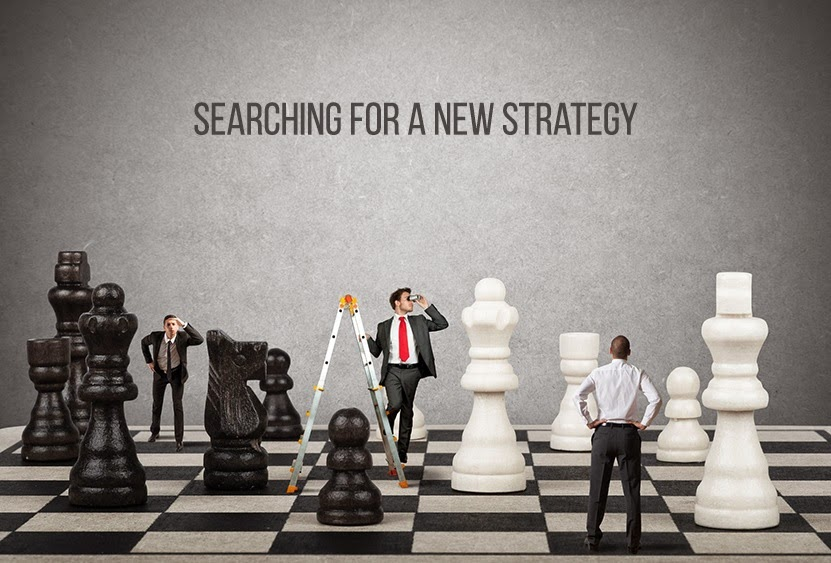 Business people searching for a better strategy on a chessboard.