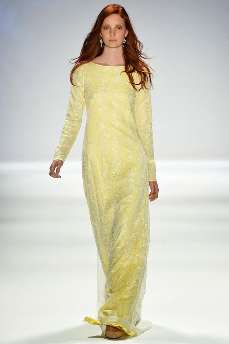 Yellow modest long sleeve maxi dress full sleeve gown with yellow lace by Tadashi Shoji Mode-sty