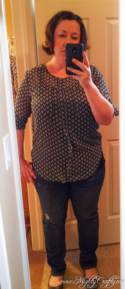 Wynn Arrow Print Front Pocket Blouse -- Stitch Fix review -- April 2014 -- www.MightyCrafty.me