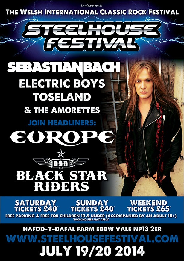 Steelhouse Festival Sebastian Bach, Toseland, Electric Boys The Amorettes