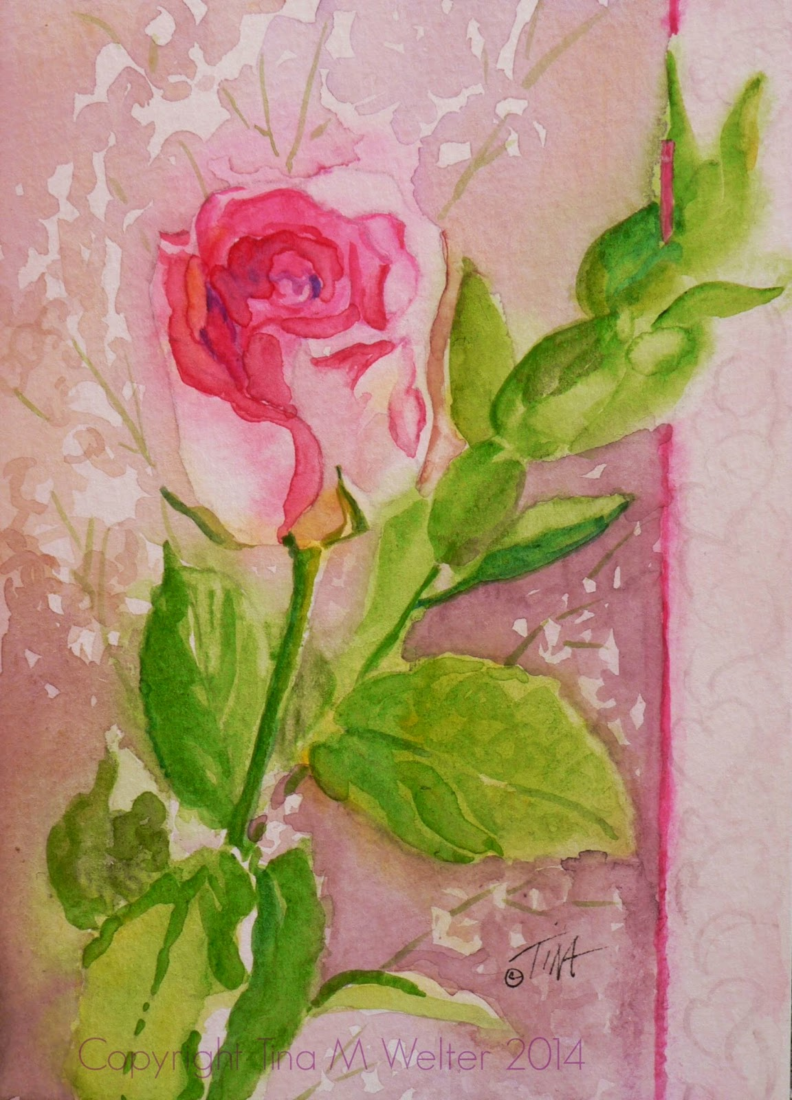"""In the Pink"" 7""x 5"" watercolor on paper, copyright Tina M Welter 2014"