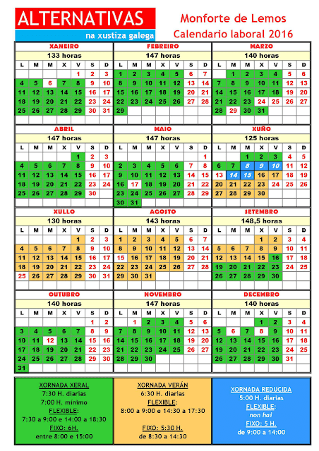 Monforte. Calendario laboral 2016