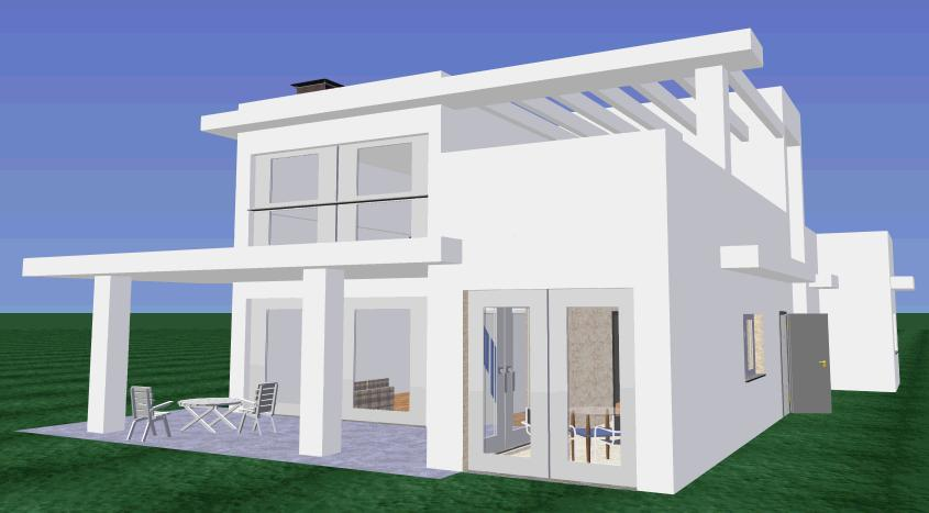 Planos low cost vivienda unifamiliar con doble altura for Planos de casas unifamiliares