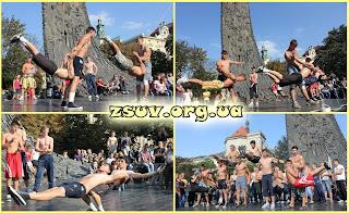 Около ста молодых людей, собрав все свои силы, доказали, что украинская нация - сильная нация! Ребята совместными усилиями поставили новый рекорд: 30 000 отжиманий. Каждый участник сумел сделать 300 отжиманий. Впервые в Украине!