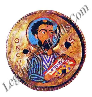 The apostle Luke Byzantine cloisonné work detail from the praxdies reliquary tenth century vattican library collection Rome