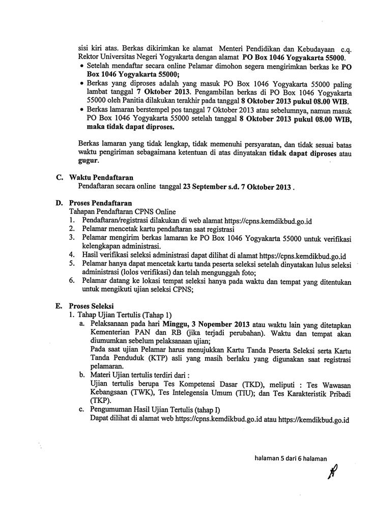 Tahapan Seleksi CPNS UNY 2013
