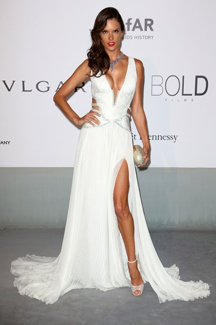 Alessandra Ambrosio wore a Roberto Cavalli dress with Jimmy Choo heels and Chopard jewels at Cannes, amfAR Gala 2014