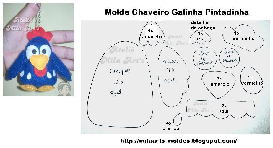 Molde Chaveiro Galinha Pintadinha Em Feltro