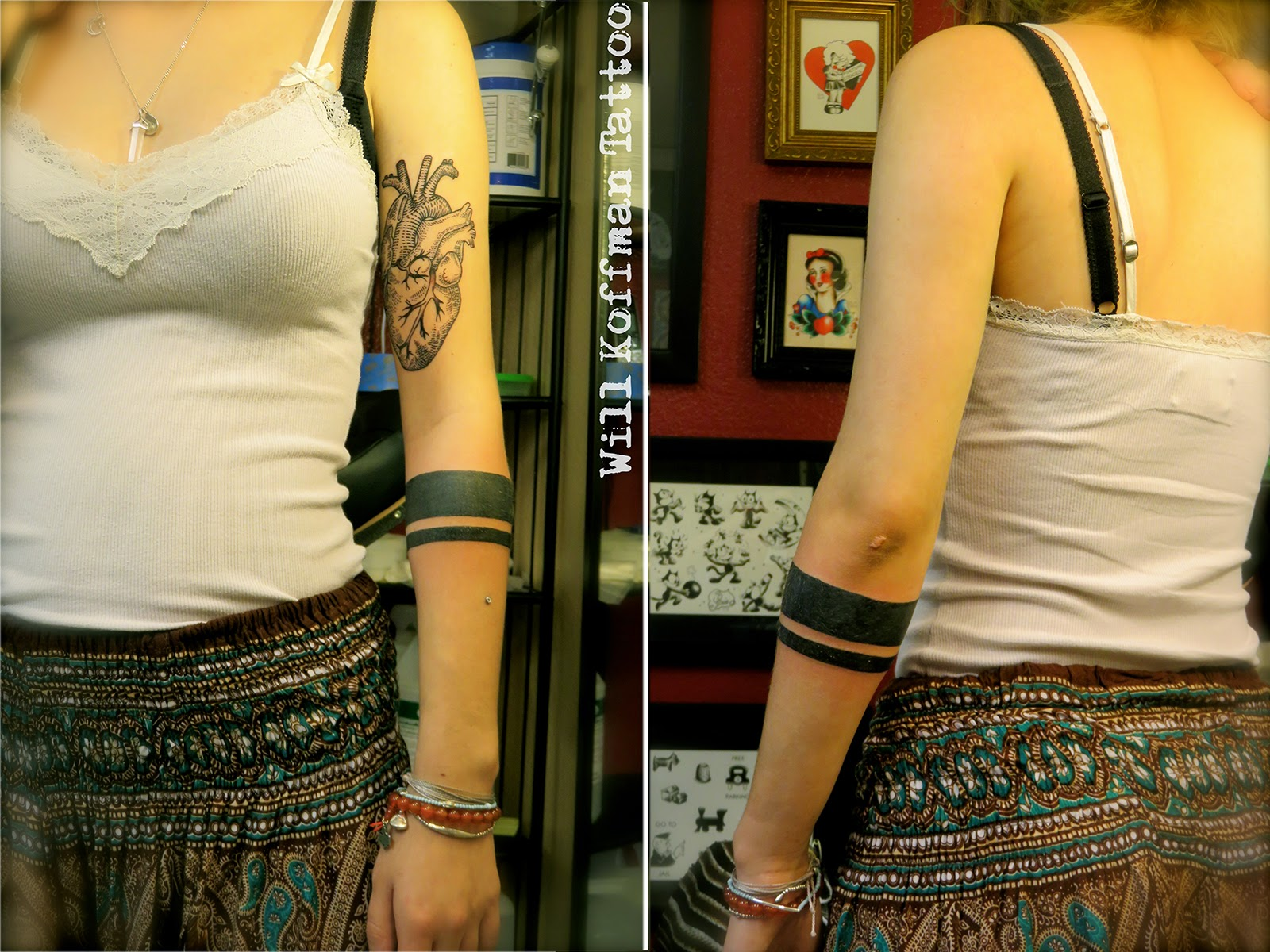 Line Tattoos Around Arm For Women
