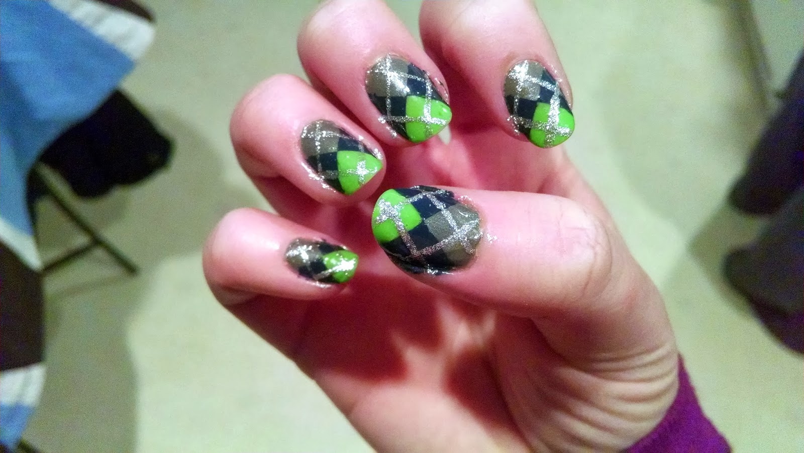 The Nail Diaries Super Bowl Xlviii Seahawks Argyle Patterned Nail