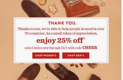 TOMS Black Friday 25% Off Discount Promo Code
