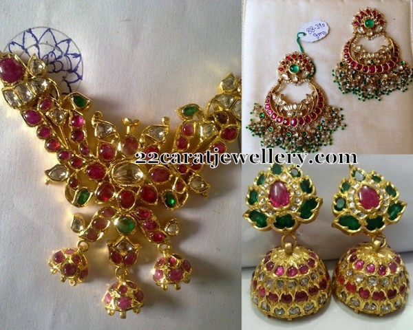 Ethnic Kundan Style Pendant Earrings