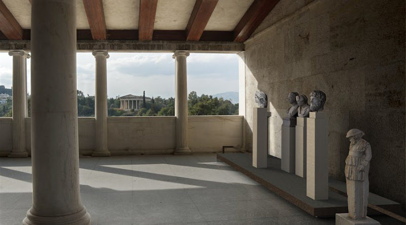 Examples of Sculpture in the Athenian Agora on show at the Stoa of Attalos