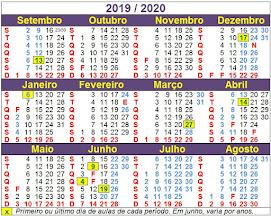 Calendário do ano letivo