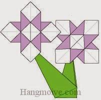 Bước 15: Dán cánh hoa đã hoàn thành bước 5 vào cành hoa hoàn thành bước 14 để hoàn thành cách xếp bông hoa Diên Vĩ bằng giấy origami đơn giản.