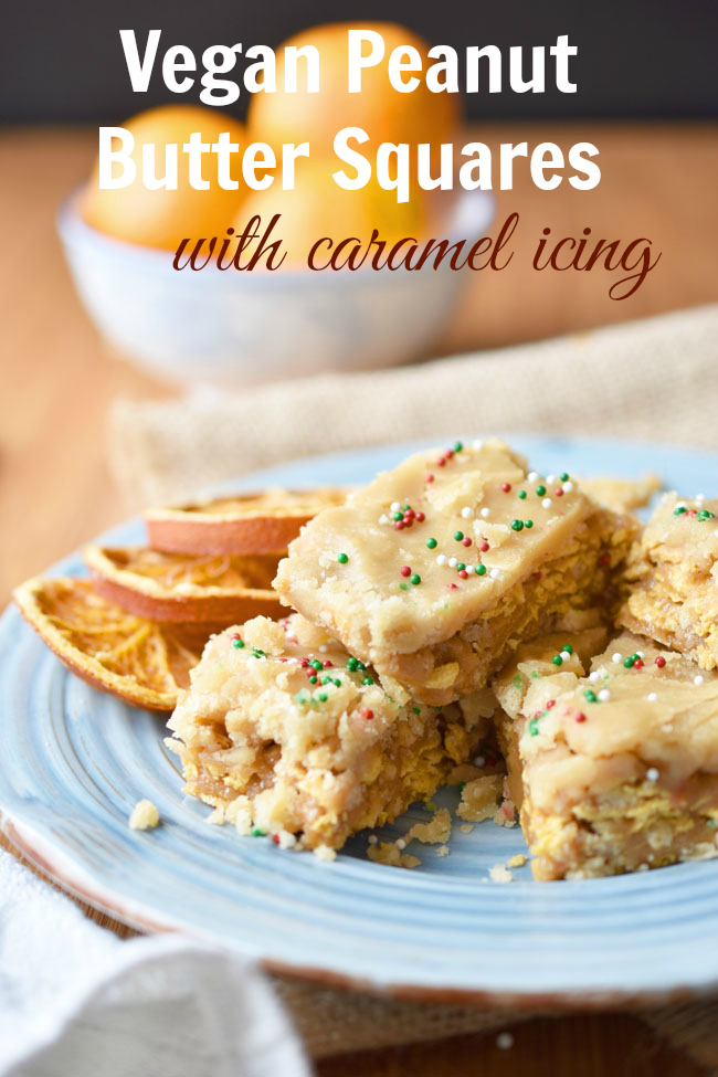 These Vegan Peanut Butter Squares With Caramel Icing are most definitely special occasion squares - perfect for Christmas! They are chewy and delicious, thanks to the winning combo of cereals and peanut butter. #vegan #glutenfree #xmas #recipes #squares