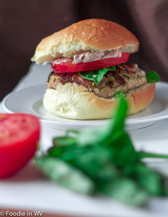 Click for Recipe for Tuscan Turkey Burgers with Fresh Basil and Tomatoes