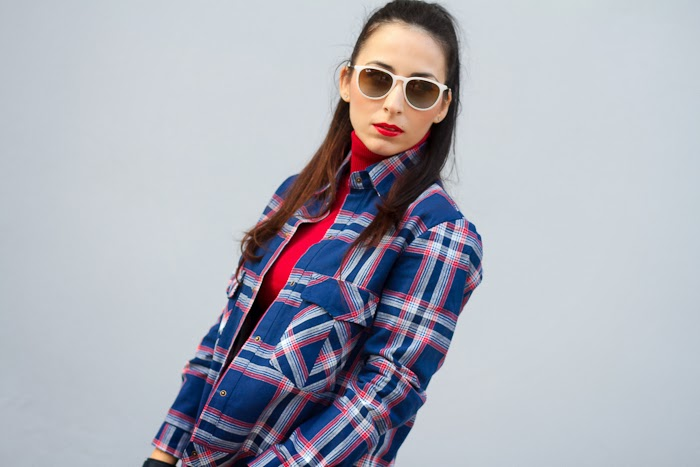 Streetstyle Fashion Checked Shirt and Pop of Red