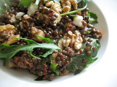 lentil walnut salad with goat cheese