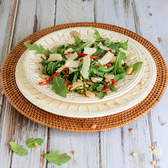 Arugula, Wheat Berries, Butter Beans and Sun-Dried Tomato Salad