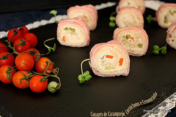 Pratos que falam canap s de caranguejo cornichons e for Canapes simples e barato