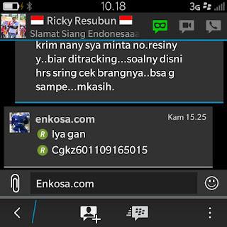 Nomer resi pengiriman jersey retro a/n Ricky Resubun